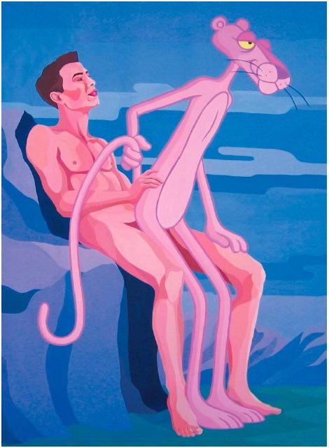 Jeff Koons & Pink Panther - Giuseppe Veneziano